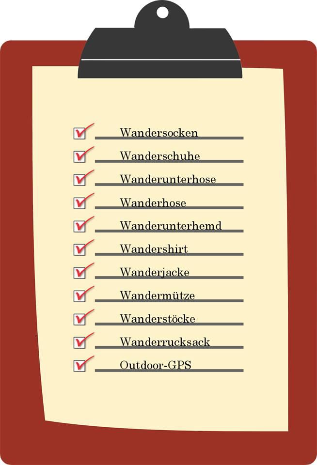 Liste mit wichtigen Packutensilien